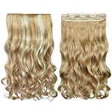 REECHO 18' 1-Pack 3/4 Full Head Curly Wavy Clips in on Synthetic Hair Extensions Hairpieces for Women 5 Clips 4.0 Oz per Piece - Natural Black