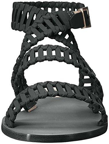 KAANAS Women's JIJOCA Ladder Strap Leather Gladiator Flat Sandal, Black, 6 Regular US