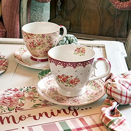 Taza Mug, Taza de Porcelana, Taza Desayuno, Taza de Café Romántico Rústico Shabby Chic - Floral - 10x15 - Blanco