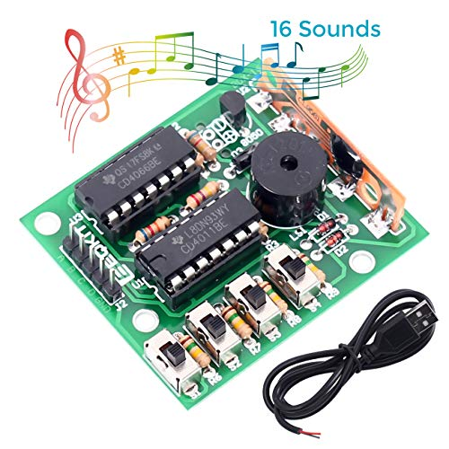 WHDTS 16-Sound Music Box DIY Kit Module w/USB Cable Learning Electronics Practice Soldering DIY Kits for Students Beginner