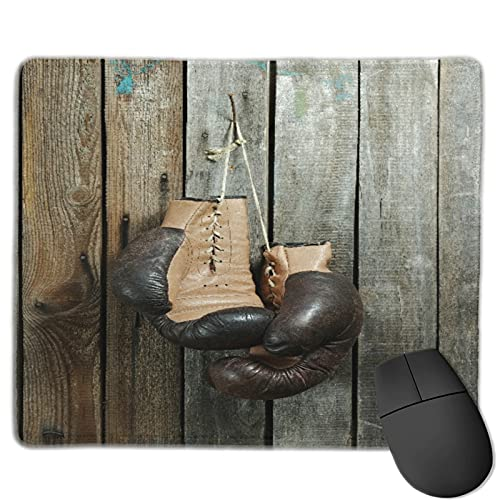 Zollamt Mauspad,Braune alte Boxhandschuhe mit einer Spitze üb,Quadratisches Gaming-Mauspad, rutschfeste Gummibasis für Heim-Laptop, Reisen, personalisierter Schreibtisch, 9,5