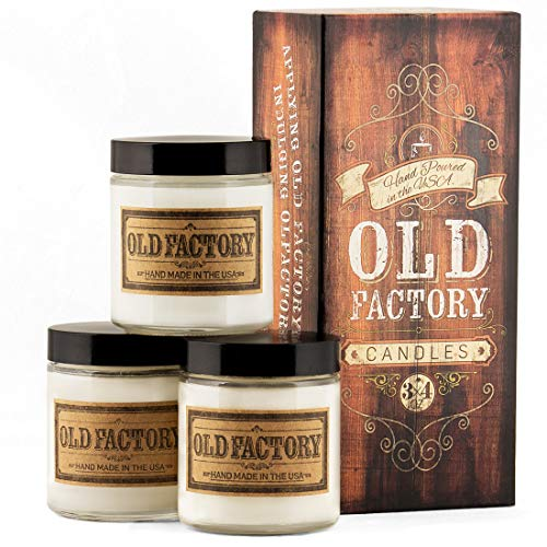 Lot de 3 bougies parfumées 113,5g en cire de soja, Cire, Man Cave - Straight Razor, Leather,...