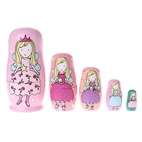 Qiuxiaoaa 5 Piece Angel Princess Russische Verschachtelung Puppen Holz Matroschka Puppen Kinder Spielzeug Geschenk Holz Handwerk Geschenk Wishing Puppe Geburtstagsgeschenk