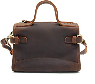 Handmade Leather Mini Shoulder Crossbody Retro England College Wind Messenger Bag (Color : Dark Brown, Size : 22 * 10 * 16.5cm)