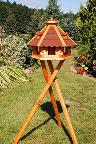 Deko-Shop-Hannusch Vogelhäuschen, Vogelhaus mit Bitumschindeln, behandelt mit Ständer