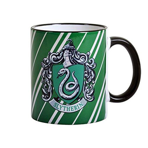 Elbenwald Harry Potter Keramik-Tasse Slytherin Wappen und Hausfarben Rundum-Druck 300 ml grün