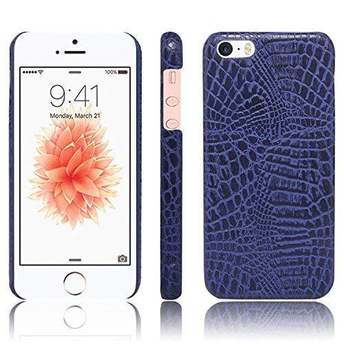 Funda rígida para PC con textura de piel de cocodrilo clásica ultrafina con textura de piel sintética resistente a los arañazos para iPhone SE / 5S / 5 Funda antideslizante (Color: Azul)