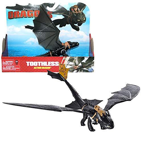 Dragons - Action Spiel Set - Drachen Ohnezahn Night mit beweglichen Flügeln