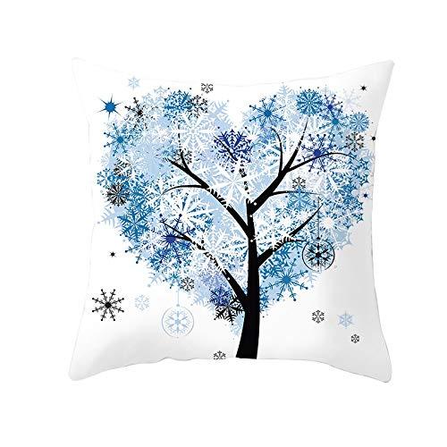 Fundas de Cojines Árbol de copo de nieve azul Funda de Almohada Cuadrado Terciopelo Suave con Cremallera Invisible para Sofá Cama Coche Decor para Hogar Throw Pillow Case Pillowcase+core,50x50cm R6290