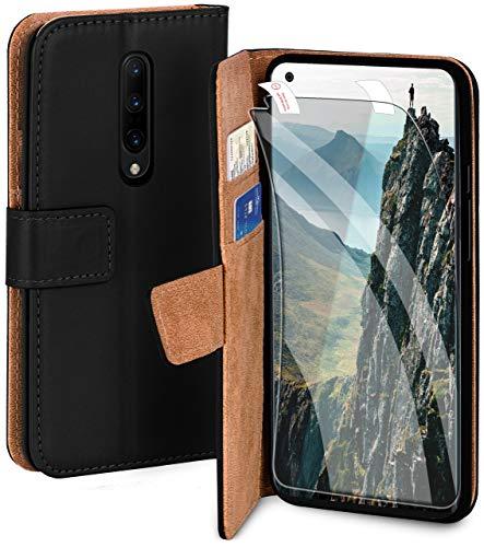 moex Handyhülle für OnePlus 8 Pro - Hülle mit Kartenfach, Geldfach & Ständer, Klapphülle, PU Leder Book Hülle & Schutzfolie - Schwarz