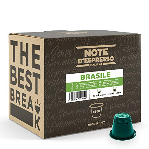Note d'Espresso - Brasil - Cápsulas de Café - Compatibles con Cafeteras NESPRESSO* - 100 caps