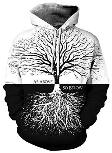 LKJDIE Men's Digital Print Sweatshirts Hooded Top Galaxy Pattern Hoodies Tree S - Medium