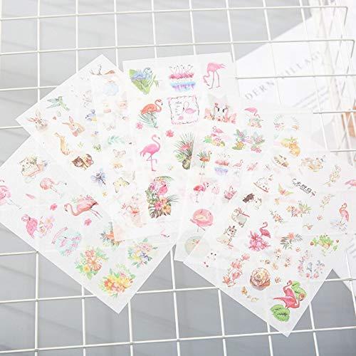 BLOUR 6 unids/Lote Nuevas Pegatinas de papelería de flamencos Frescos Pegatinas de Papel Encantadoras para niños DIY Diario álbum de Recortes de Fotos Ablums