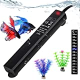 Betta Fish Tank Heater, 25W Mini Aquarium Heaters Free 2 Artificial Plants 1 Stick-on Thermometer Strip 2 Suction Cups, Water Warmer Temperature Controller Smart Thermostat for 3-5 Gallon Tank