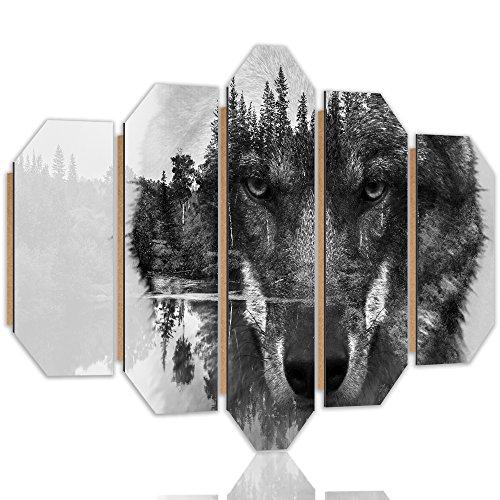 Feeby Frames Panneaux Deco Loup Photo 5 pièces Noir et Blanc 150x100 cm