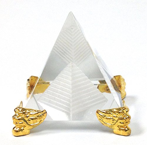 Amlong Crystal 2.3 inch Crystal Pyramid in Pyramid with Gold Stand