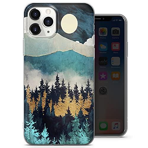 Nature Mountain - Carcasa para iPhone 12, iPhone 12 Pro, diseño de Hill Print Art Cover para iPhone 12, iPhone 12 Pro – Delgada y suave TPU silicona Bumper – Diseño 5 – A71