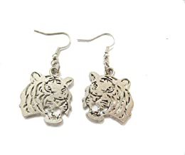 Ancient Silver Tiger Earrings,Tiger Head Pendant Earrings,