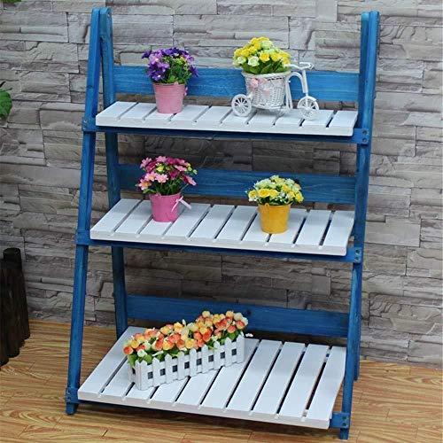 Plant Stand JT - Support de pot de fleurs pliable 3 étages en bois - Idéal pour la maison, le jardin, la terrasse - Multifonction - Couleur : C - Taille : S