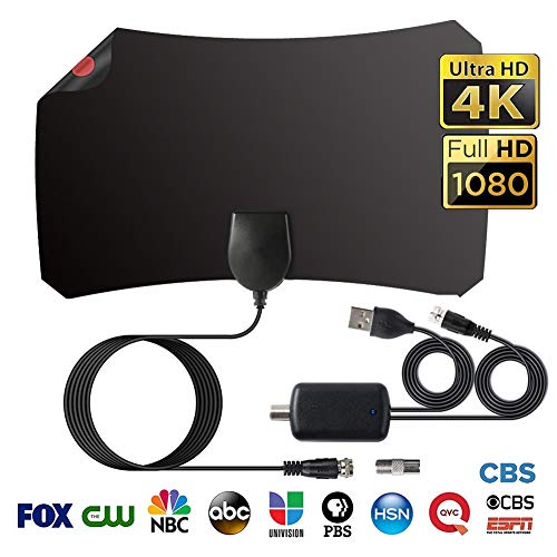 HD TV Radius Antenne, Indoor Digitale HDTV-Antenne, 120 Meilen/200 km Reichweite, Superflache Antenne für DVB-T/DVB-T2/HD/SD/1080P FreeView, Verstärker mit USB Adapter