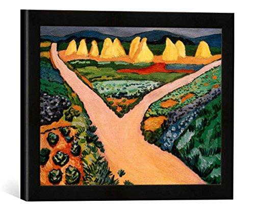 Gerahmtes Bild von August Macke Gemüsefelder, Kunstdruck im hochwertigen handgefertigten Bilder-Rahmen, 40x30 cm, Schwarz matt