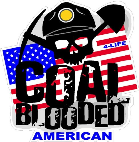 """3 - Coal Blooded Hard Hat Stickers Designed by Earl Ferguson """"Sons of Coal"""" H546"""