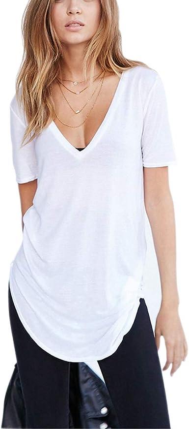 Cuello en V Camisetas Mujer Verano Casual Sexy Algodón Blanca Negro Blusas Túnica Tops Ropa Oversize Tallas Grandes