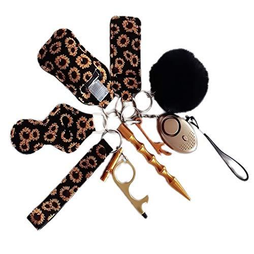 SHMAO keychain set accessories women cute sunflower chapstick lip balm holder keychains Ladies