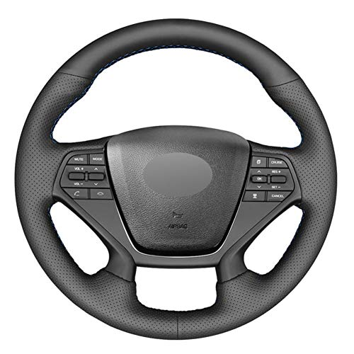 YHDNCG Cubierta del Volante del Coche de Cuero Negro DIY, para Hyundai Sonata 9 2015-2017 Accesorios Interiores del Coche