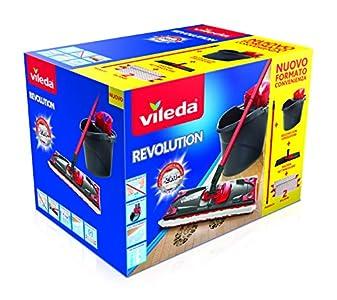 Vileda - Sistema de limpieza para todo tipo de suelos, con cubo, escurridor y soporte, incluye un paño de microfibra - Color negro/rojo