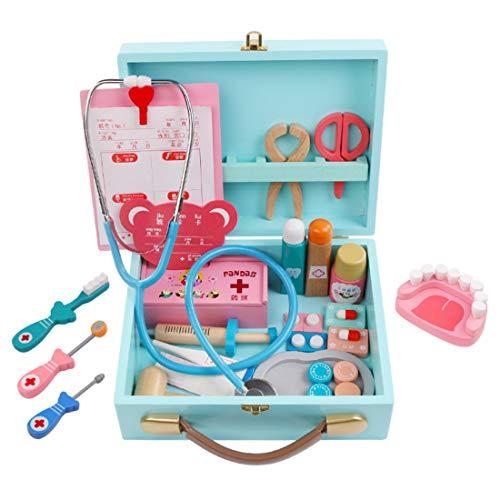 BOXX Arztkoffer Holz Kinder, 35 Stücke Emulational Medizinisches Spielzeug für Kinder Rollenspiele