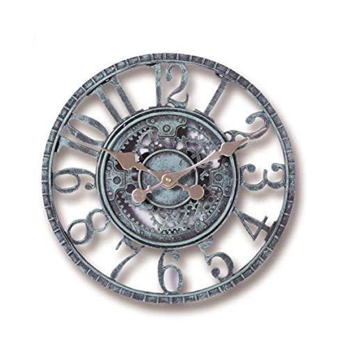 KoelrMsd Creativem Outdoor Garden Wall Clock Waterproof Vintage Garden Ornament Hollow Gear Roman Numeral Hanging Clock