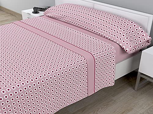 Juego de sábanas térmicas de Pirineo - 3 Piezas - 110 Gr/m2 - Mod. GILVA (Rosa, Cama de 150 cm (150_x_190/200 cm))