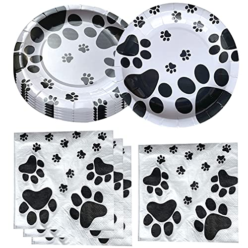 Fenghu Dog Paw Prints Birthday Party Supplies, 20 Plates and 20 Napkins, Dog Paw Prints Theme Birthday Party Decorations for Kid Baby Shower
