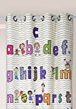 Linder Rideau Enfants- imprimé Alphabet et Chiffres, 77% Polyester 23% Coton, Multicolore, 140 x 245 cm