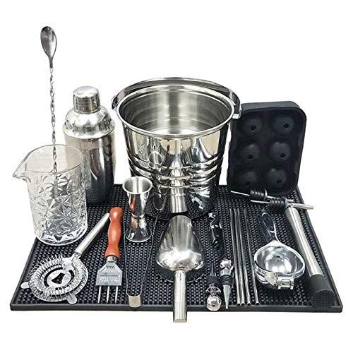CHENMAO Cocktail Shaker Bar Tools, Kit de barmandero de acero inoxidable, combinación de la taza de barman de cóctel con la herramienta de suministros de barbero con barras con todos los accesorios de