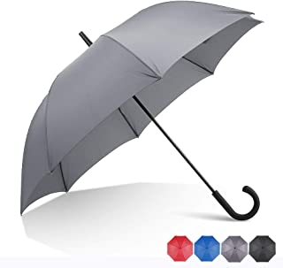 RUMBRELLA Grey Hook Handle Umbrella Windproof, j Umbrellas Auto Open 54IN