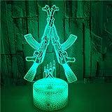 FREEZG lamparitas de noche dormitorio Armas armas juguetes niños 7 Colores Cambian Luz Nocturna Lámpara de Noche para Decoración de Dormitorio