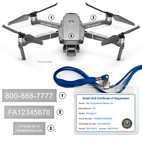 Mavic 2 Pro | Zoom Drone - FAA Drone Identification Bundle - Labels (3 Sets) + FAA UAS Registration ID Card for Commercial Pilots + Lanyard and ID Card Holder + 6 Battery Labels