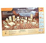 BOHS 34PCS Kit de artesanía para Muebles de casa de muñecas - Rompecabezas de Madera en 3D para Bricolaje - Modelos a Escala en Miniatura Accesorios para Casas de muñecas - A Partir de 6 años