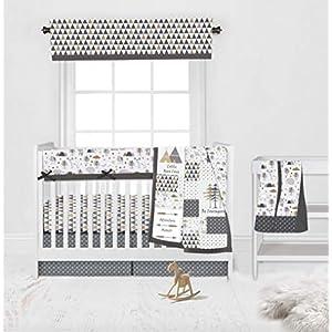 Bacati – Neutral 100 Percent Cotton 6 Piece Nursery Baby Crib Bedding Set with Long Crib Rail Guard Cover for Boy/Girl US Standard Cribs (Woodlands Grey/Biege)