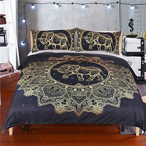 Ropa de cama negro y dorado, diseño de elefante y tortuga, funda de edredón con mandala, diseño de flores y estrellas, budismo bohemio, con cremallera