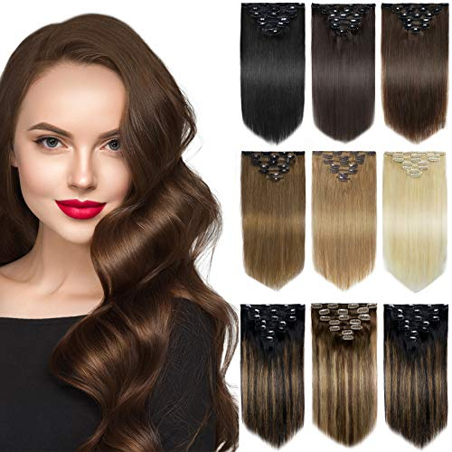 Yamel Remy Clip in Hair Extensions Human Hair 7Pcs 16 Clips Real Human...