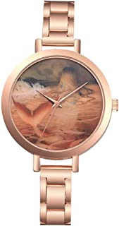 Stylish watch Women's Watch Quartz Wrist Watch with Round Dial Mermaid Pattern Watch with Thin Metal Strap for Elegant Female Watch