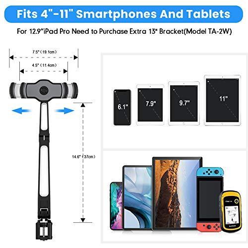 AboveTEK Long Arm Tablet Halterung, Faltbarer Tablet Halter 360 ° Swivel Clamp Halterung für Ipad, Handy, Switch, Samsung Galaxy Tabs, Nintendo Switch-Schwarz