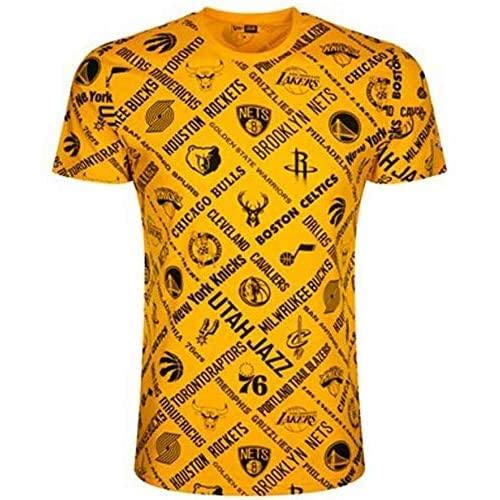 New Era NBA AOP tee All Teams AGD Camiseta de Manga Corta, Hombre, Gold, S