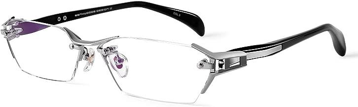 Bertha Men's Business Titanium Eyeglasses Frame Rimless Prescription Optical Glasses 1141