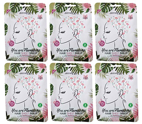 Derma V10 Hair Sheet Masks Nourish & Condition, 6 Pack Bundle (6 x...
