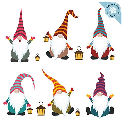 Christmas Window Clings - Six Color Nordic Christmas Gnomes Window Decorations - Reusable Non-Adhesive Holiday Window and Door Scandinavian Décor - 6 Small