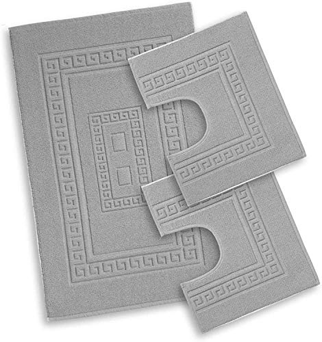 HomeIt - Set Tappeti Bagno 3 Pezzi in Cotone - Elegante Parure tappetini in Spugna: 1 Tappeto 60X90 2 Girowater / Girobidet - Lavabile Lavatrice - Made in Italy (Grigio)